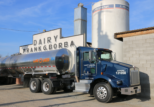 A Land O'Lakes truck fills up outside Eric Borba's dairy farm.
