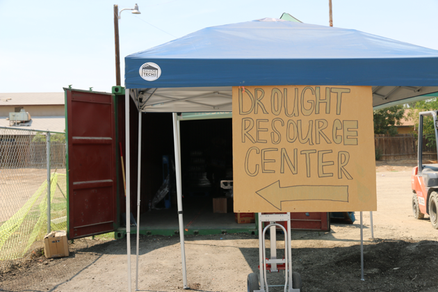At the county's drought resource center—a trailer in East Porterville—residents can sign up for bottled water deliveries, take showers, and apply for loans to fund well drilling.