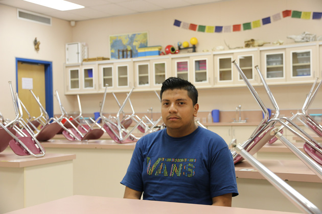 Luis Diaz, a junior at Granite Hills High School, has running water at home, but his parents, who work in the fields, have struggled to find work.