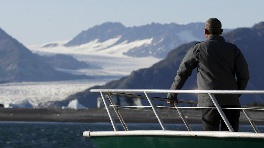 Obama on boat in Alaska