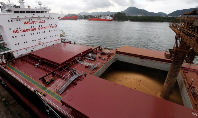 A ship is loaded with soybeans at Santos Port, Brazil