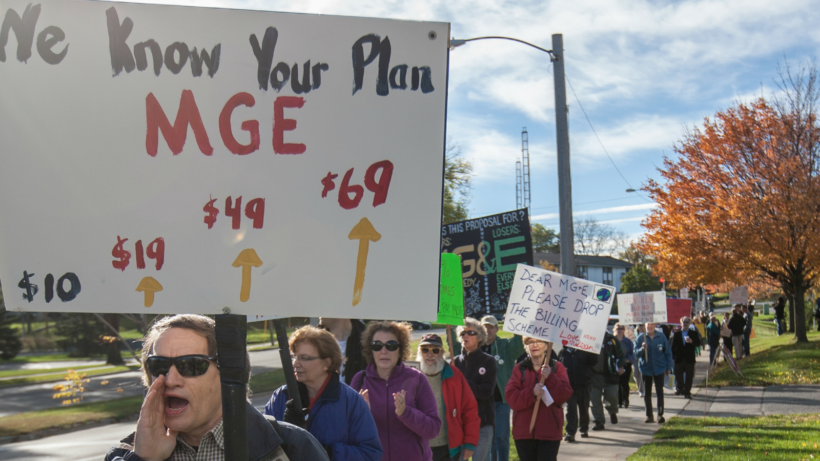 protest against MG&E rate hike
