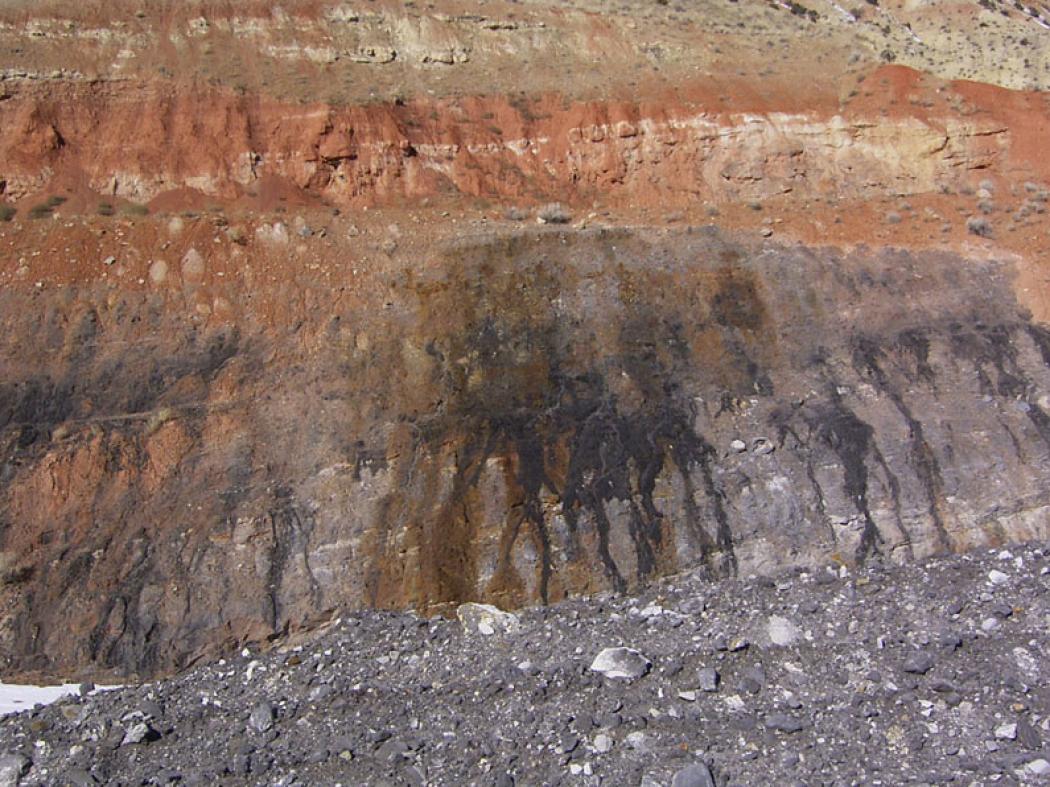 A tar sands seep at a Utah tar sands mine.