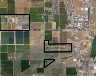 View of Tulare's wastewater treatment plant (outlined in upper left corner) and Matheny Tract (outlined in lower right). The diagonal route right of Matheny Tract is the railroad referred to by Dorman.