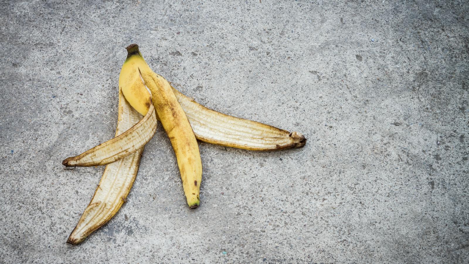banana peel on the ground
