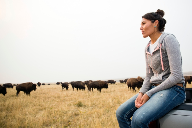Kendall Edmo at the Blackfeet Tribe's Bison Reserve in Browning, Montana.