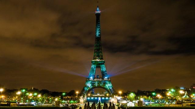 Eiffel Tower gone green