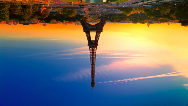 Eiffel Tower upside-down