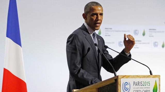 US President Barack Obama delivers a speech on the opening day of the World Climate Change Conference.