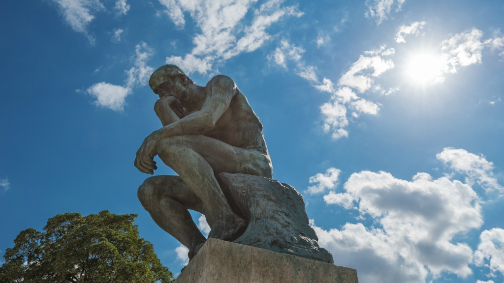 The Thinker statue by Rodin