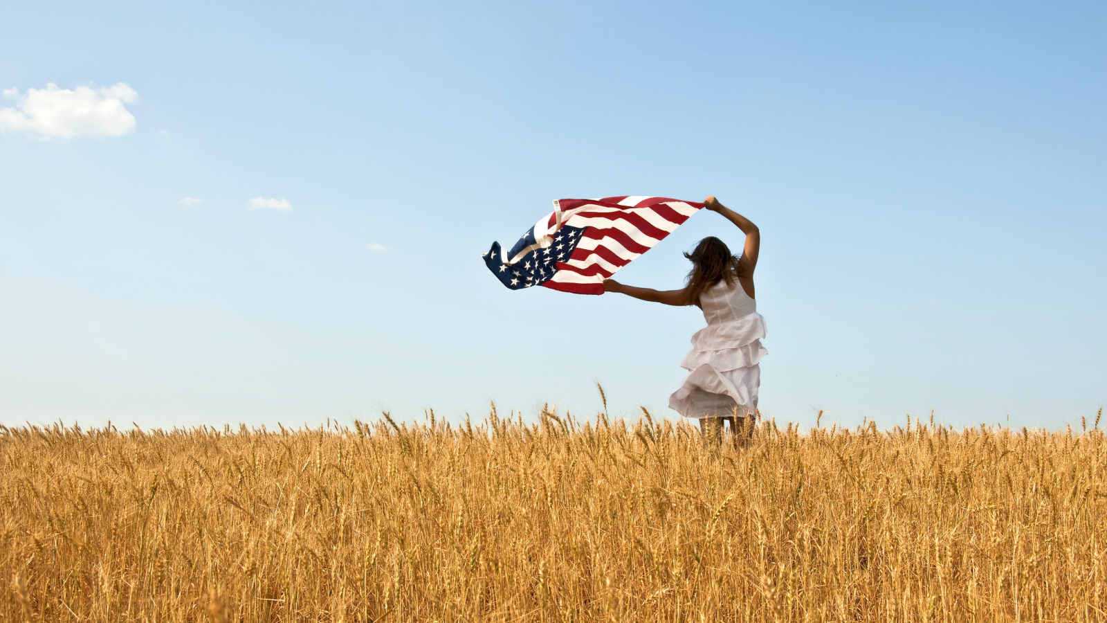 jaunty woman with flag