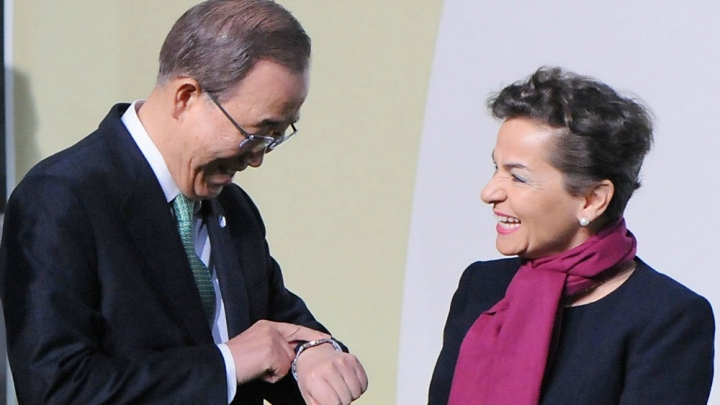 U.N. Secretary General Ban Ki-Moon talks to U.N. Framework Convention on Climate Change executive secretary Christiana Figueres.