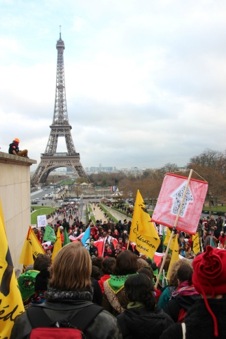 protest in front of Eiffel Tower