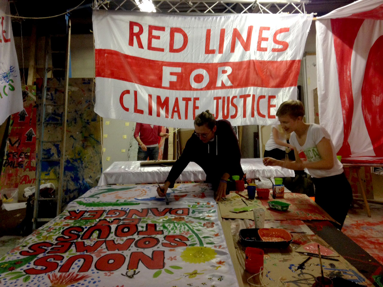 activists making banners