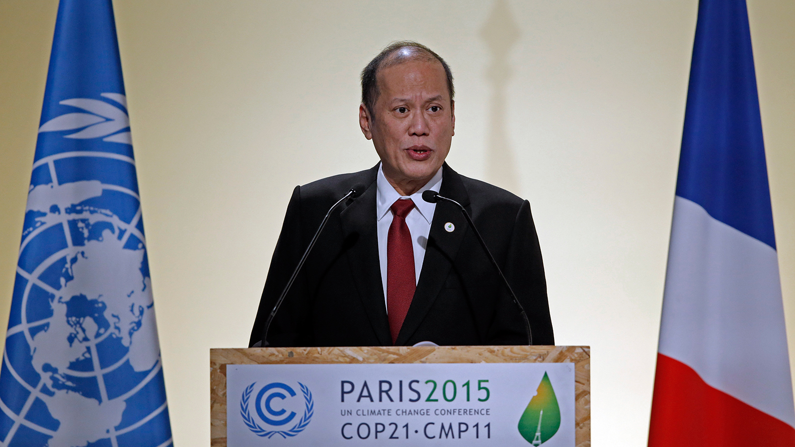 Philippine's President Benigno Aquino delivers a speech during the opening session of the World Climate Change Conference 2015 (COP21) at Le Bourget, near Paris, France, November 30, 2015.