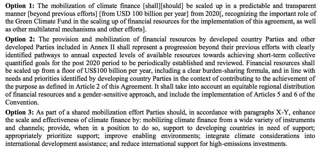 Three options for climate finance in the latest draft agreement.