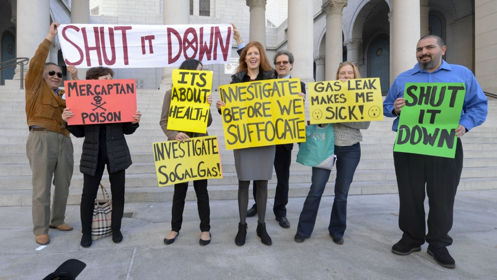 protesters with signs