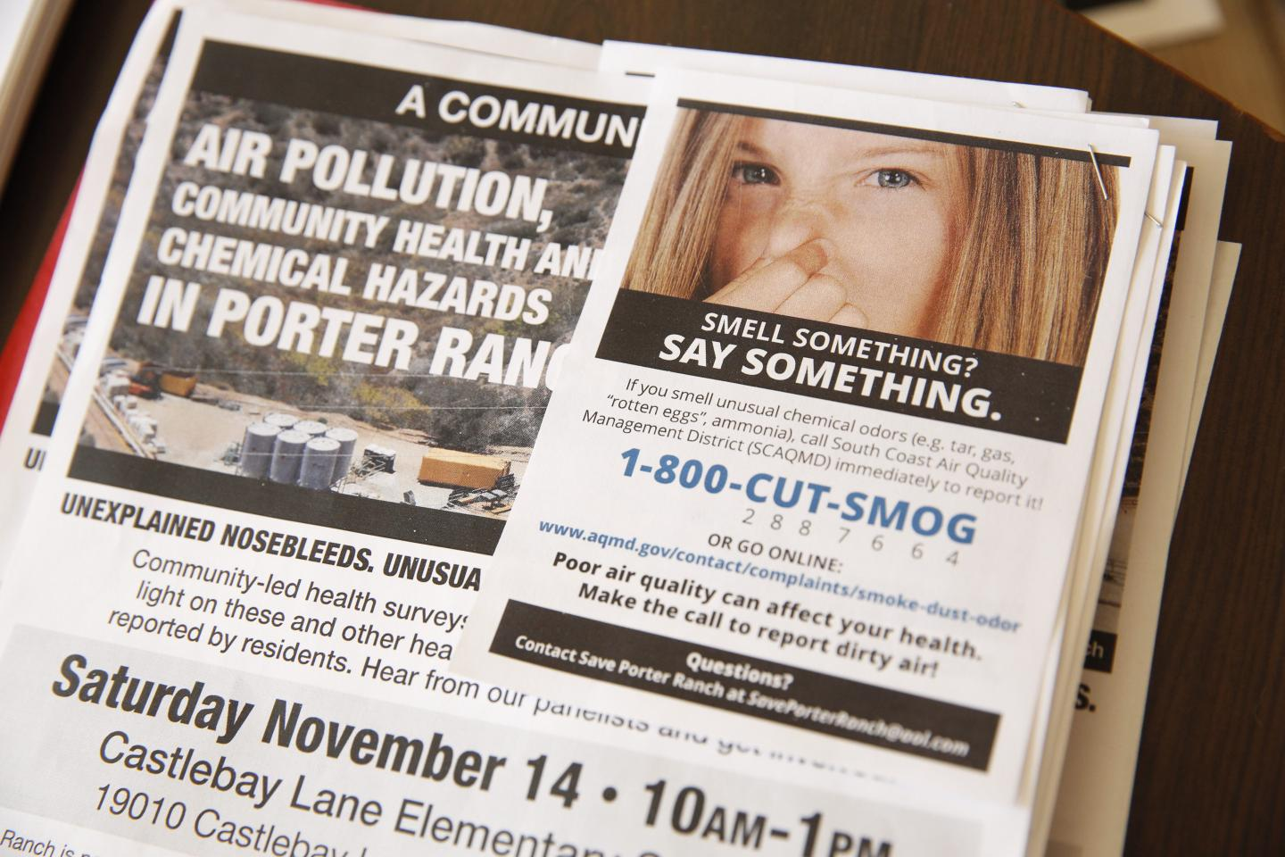 "A flyer for ""Smell Something? Say Something"" warns Porter Ranch residents of the leak. Natural gas has been spewing out at a rate of up to 100,000 pounds since October, according to state officials."