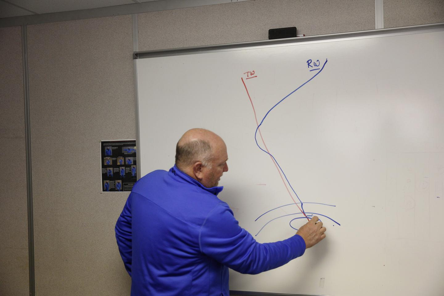 Rodger Schwecke of SoCalGas draws a basic diagram of how the relief well will intercept and stop the leak, Dec. 30, 2015. If successful, the leaks will be stopped within months, but the environmental impact won't be fully seen for years.
