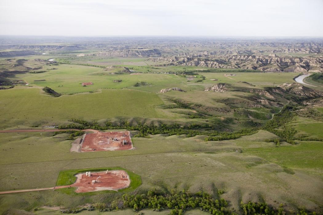 Oil and gas wells in the Bakken Shale region of western North Dakota near Theodore Roosevelt National Park.