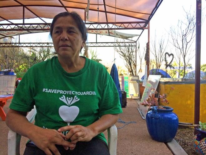 Irene Peña in Proyecto Jardín's exercise area