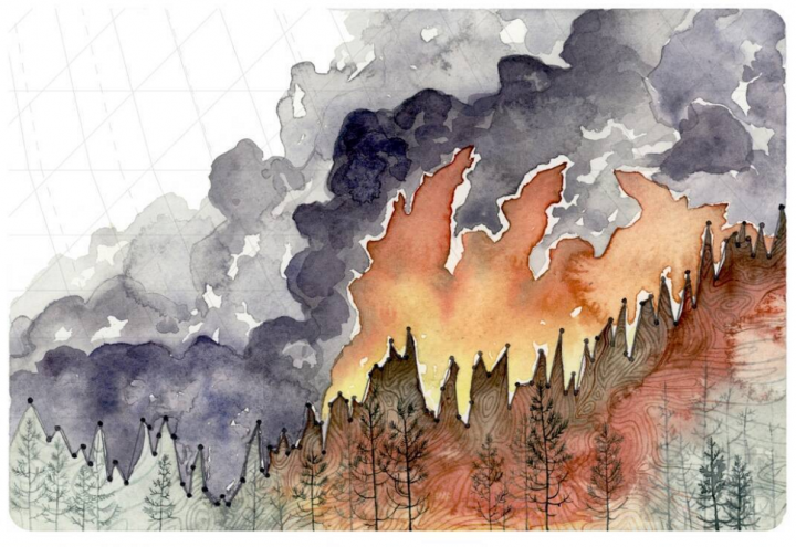 Large wildfires are happening more frequently and burning more area across the western U.S. in part due to rising temperatures. The global average temperature is shown between the flames and the forest.