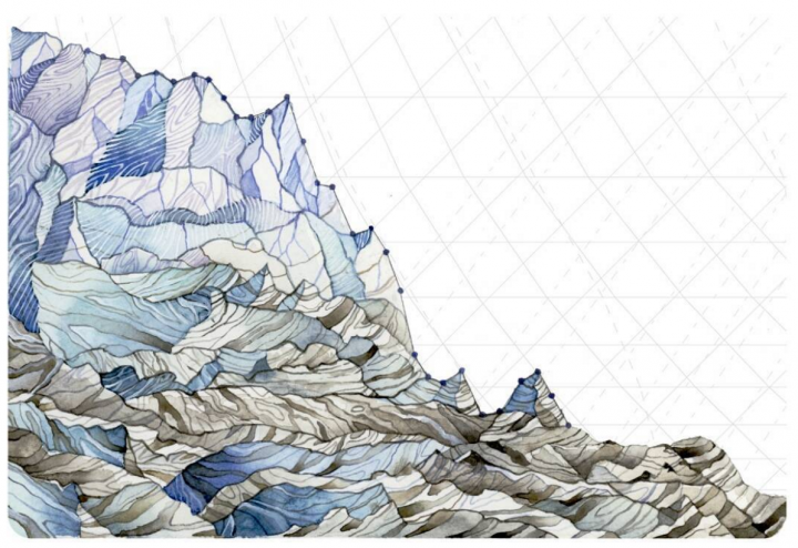 Glaciers are losing mass in the North Cascades, where Pelto's father has done work for decades monitoring glacier retreat and related changes. Annual glacier mass balance data is represented in the painting.