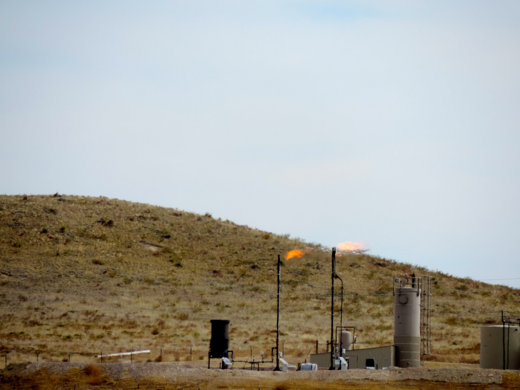 An oil and gas well flaring gas in northeast Colorado.
