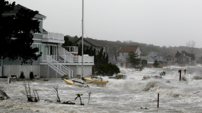 Storm surge pushed up by Superstorm Sandy floods homes in Hampton Bays New York