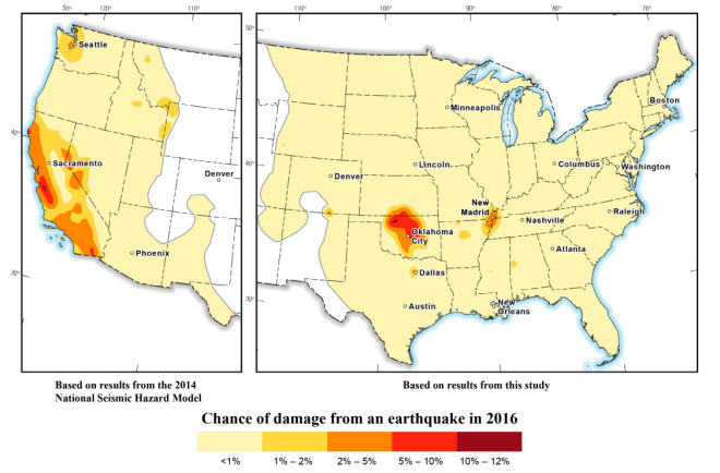 A USGS map of earthquake risk for 2016.