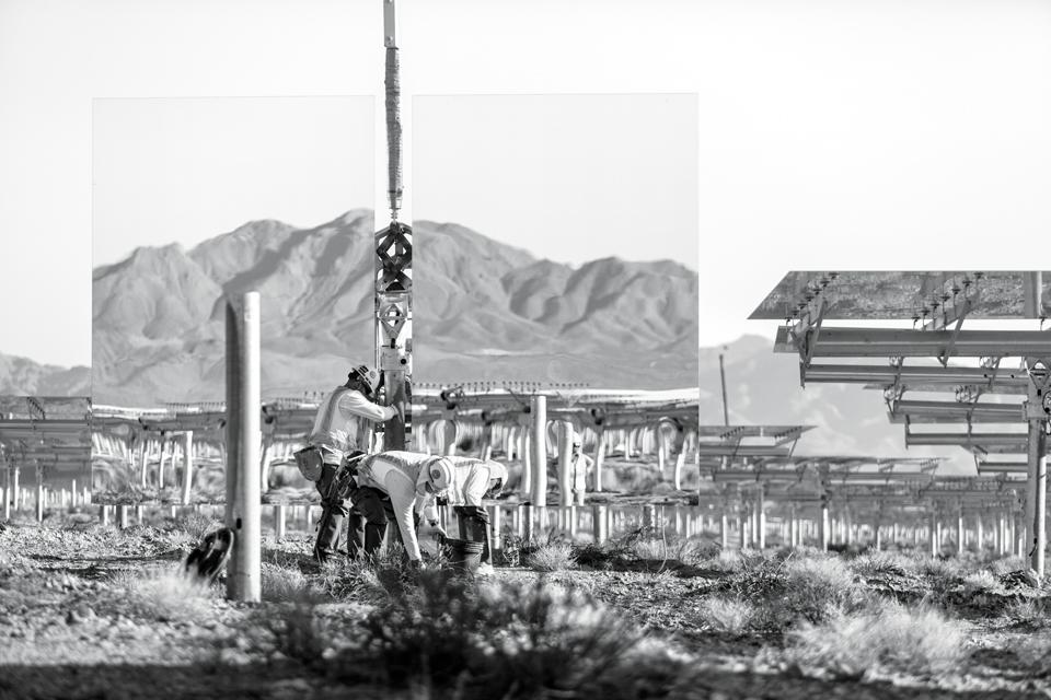 Ivanpah Solar under construction, near the Mojave Desert and the border of Nevada.