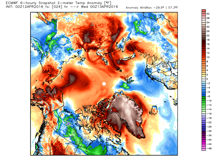 Temperatures anomalies for Wednesday afternoon forecast by the Euro model. In Greenland, the temperature could reach as high as 57 degrees F above normal.