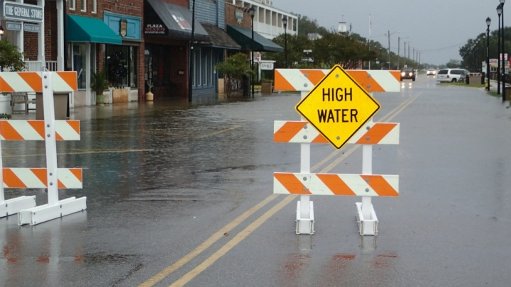 King tide flooding in Beaufort, N.C. in the fall of 2015.