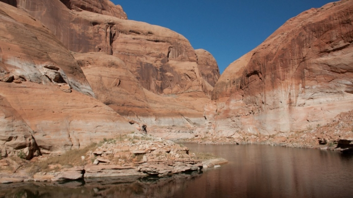 ow water levels in late 2014 at Lake Powell, which is a Colorado River water reservoir built along the border of Utah and Arizona.