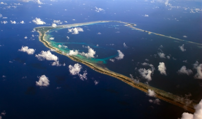 Majuro, capital of the Marshall Islands, is an atoll in the Pacific Ocean with a land area of about four square miles. It is home to about 30,000 people.