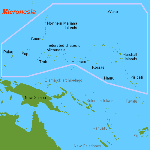 The region of the Pacific Ocean known as Micronesia.