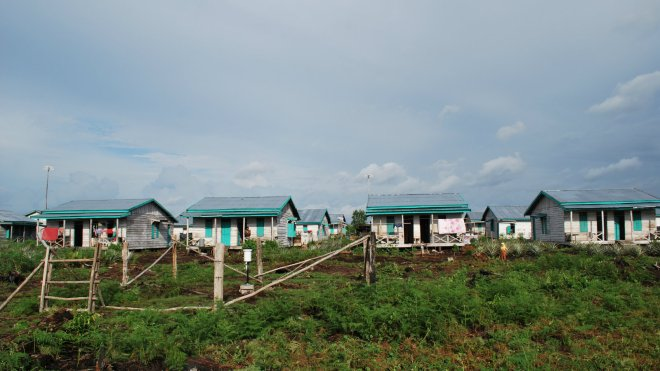 Palm oil plantation housing for workers, Indonesia