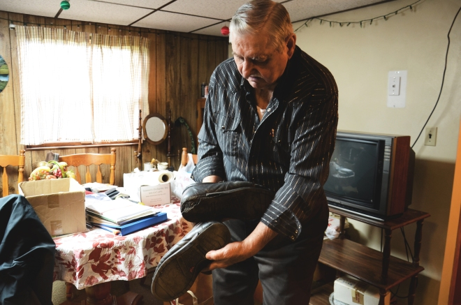 The soles of Jesse Eakin's shoes disintegrate after a few months of walking on his lawn. He's been told the culprit may be toluene, a volatile organic compound released into the air during natural gas production. The chemical settles onto his grass.