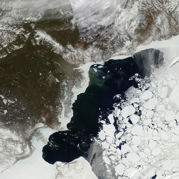 The May 21 view of Arctic sea ice in the Beaufort Sea, showing early ice thinning and melting.
