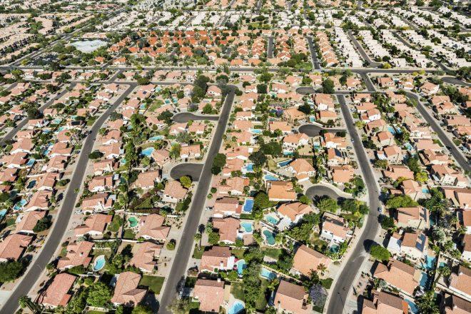 Scottsdale Phoenix Arizona suburban housing development neighborhood - aerial view
