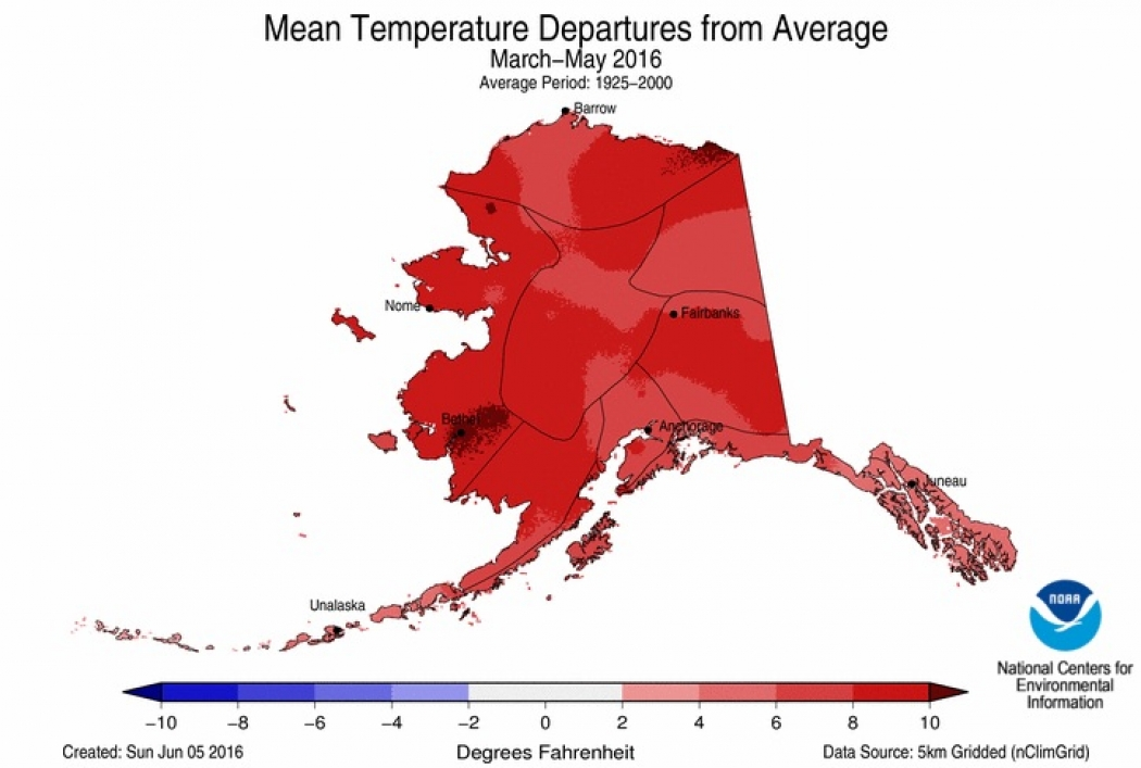 How much spring temperatures differed from average during the spring in Alaska.