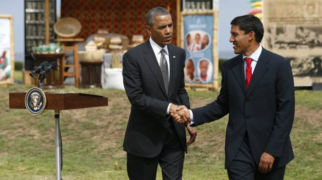 Shah and Obama at a food security expo in Senegal