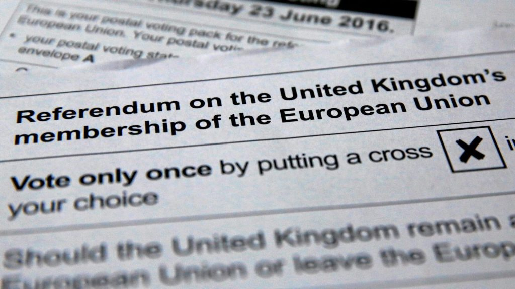 Illustration picture of postal ballot papers June 1, 2016 ahead of the June 23 BREXIT referendum when voters will decide whether Britain will remain in the European Union.