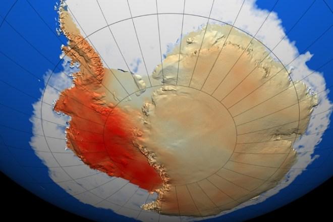 Temperature change across Antarctica from 1957-2006.
