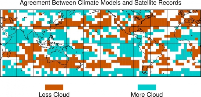 Locations where the majority of climate models and the majority of satellite records agree on how cloudiness changed from the 1980s to the 2000s, relative to the global mean change.