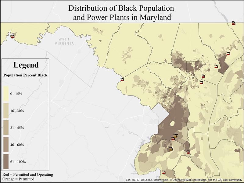maryland black population power plants