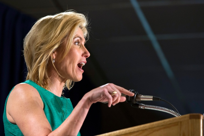 Conservative media personality Laura Ingraham speaks during the inaugural Freedom Summit meeting for conservative speakers in Manchester