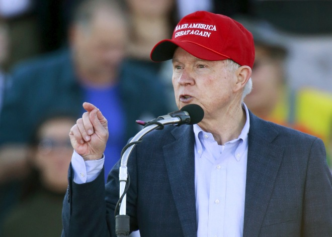 U.S. Senator Jeff Sessions speaks to supporters of U.S. Republican presidential candidate Donald Trump after he endorsed Trump at a rally at Madison City Schools Stadium in Madison