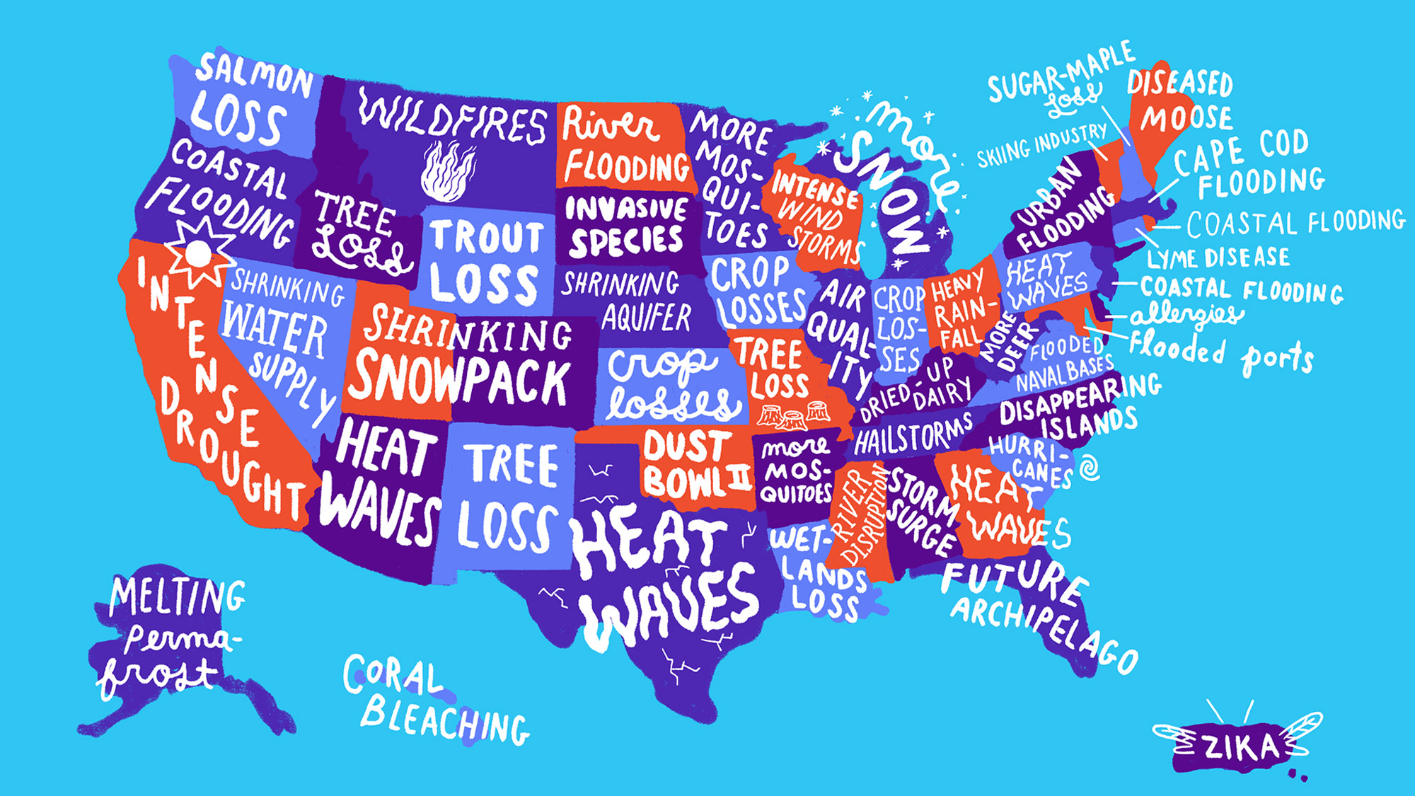 USA climate concerns by state