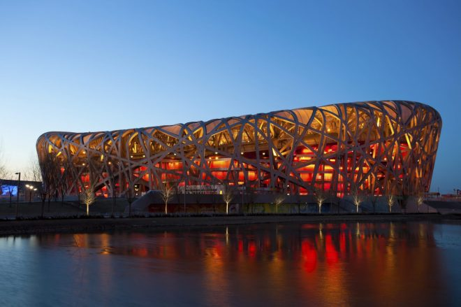 Beijing, China - March 6, 2011: Located on Beijing Olympic Green, the Beijing National Stadium or the Bird's Nest was home of the 2008 Beijing Olympics.